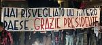 Lo striscione dedicato dagli Ultras al Presidente Beleggia