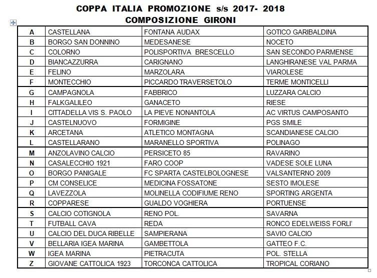 Calendario Promozione Girone A.Promozione Gironi Di Campionato E Gironi E Calendari Di Coppa