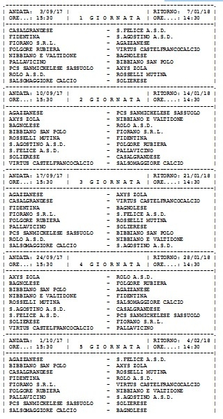Calendario Eccellenza.Calendario Eccellenza Girone A