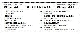 Calendario Promozione Girone A.Calendario Promozione Girone A
